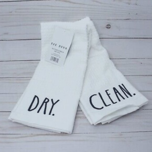Set of RAE DUNN Kitchen Towels DRY/CLEAN